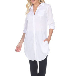 NWT-White Mark Woman`s Button Down Tunic  Size S